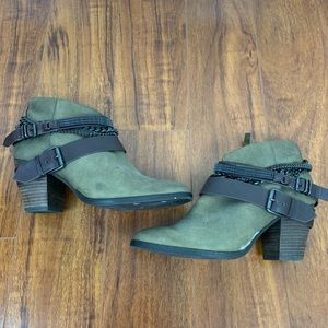 Dolce Vita Brown Heeled Booties with Chain Detail